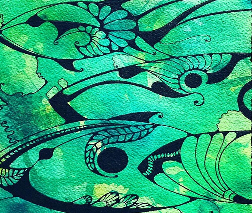 Abstract Green Fish, Ocean Design by cat63
