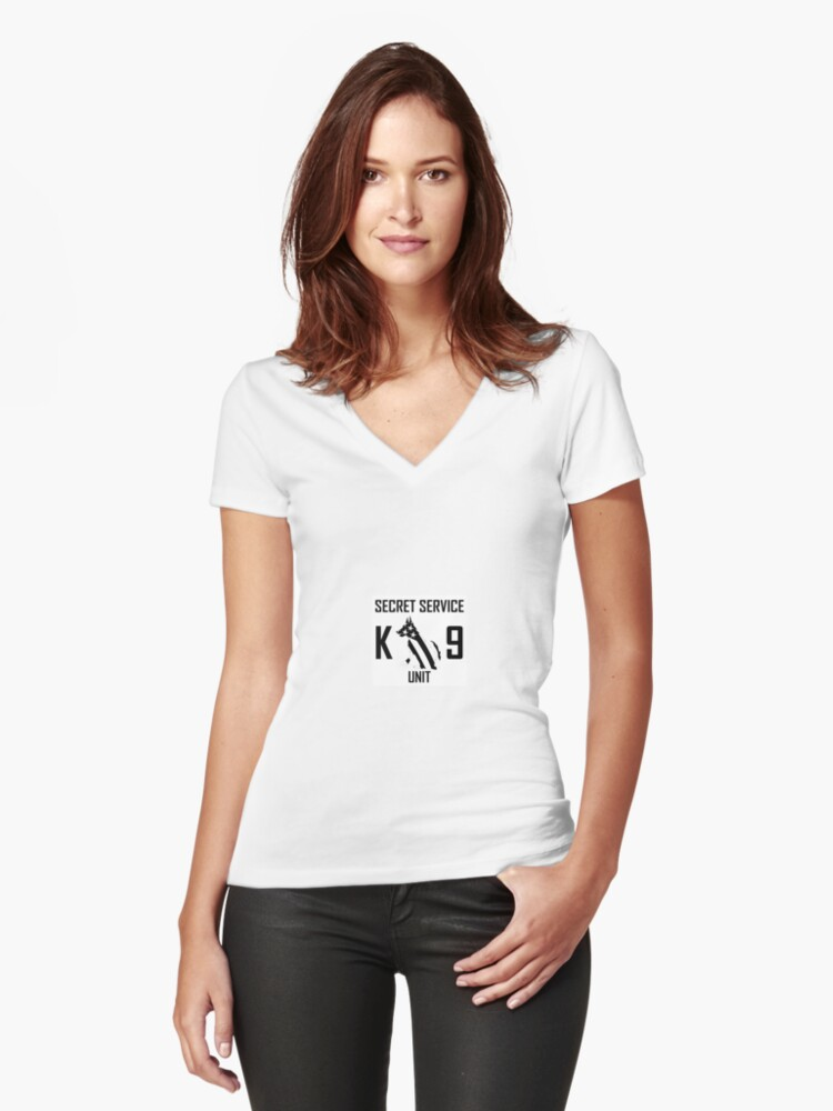 K 9 UNIT  Women's Fitted V-Neck T-Shirt Front