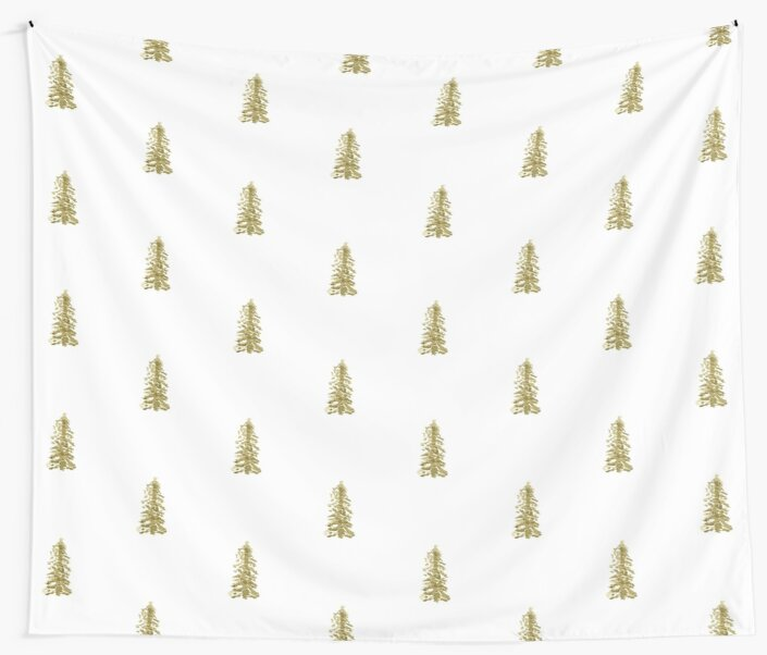 Pine Tree Wall Tapestry Minimalistic Decor by Brookelle Hunter