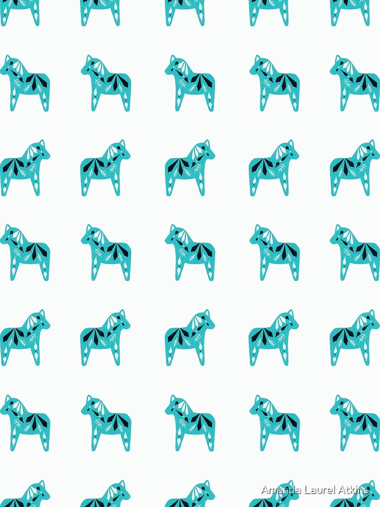 Dala Horse Pattern - Teal and White by Amanda Laurel Atkins