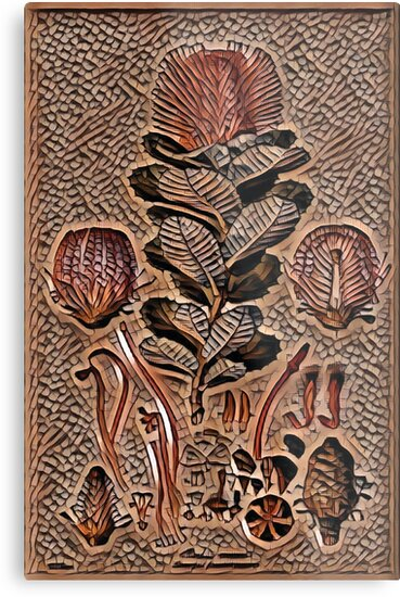 Articial Intelligence created Banksia Coccinea (Ferdinand Bauer) #CreateArtHistory  by Jane Holloway