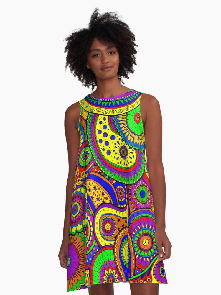 Psychedelic Rainbow Paisley Art  A-Line Dress Front