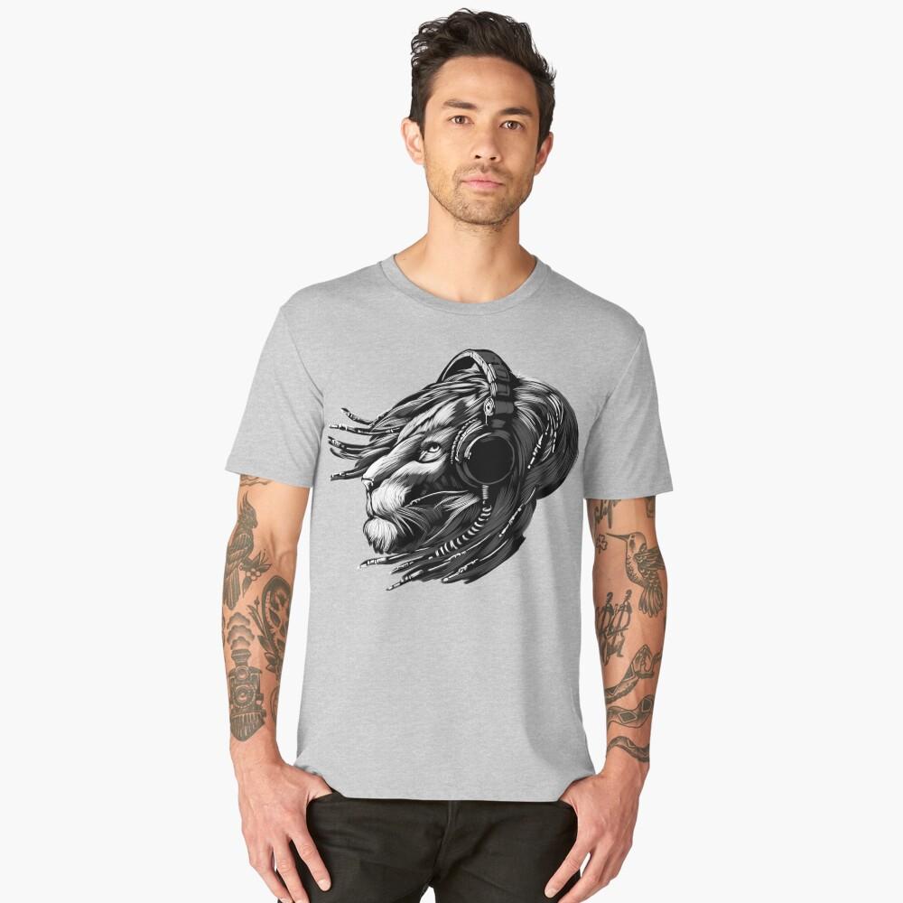 Lion Headphones Men's Premium T-Shirt Front
