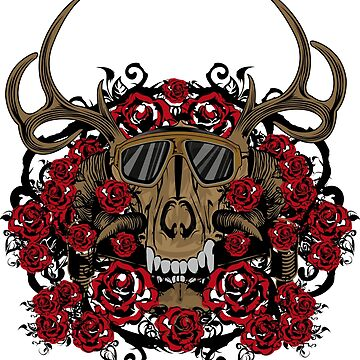 skull red flower by ZACKARTZ
