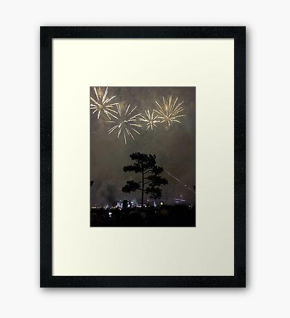 Foggy Fireworks Framed Print