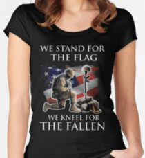 we stand for the flag we knew for the fallen Women's Fitted Scoop T-Shirt