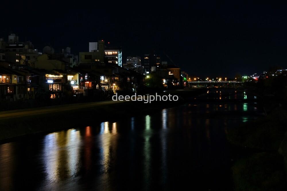 Night over the Kamo River and Pontochō by deedayphoto