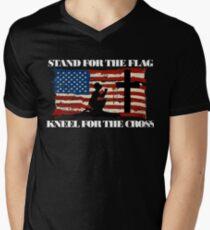 Stand for the Flag, Kneel for the Cross Men's V-Neck T-Shirt