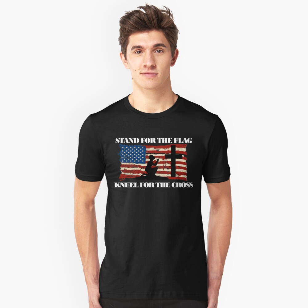 Stand for the Flag, Kneel for the Cross Unisex T-Shirt Front