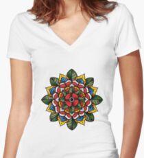 Mandala Flower Women's Fitted V-Neck T-Shirt