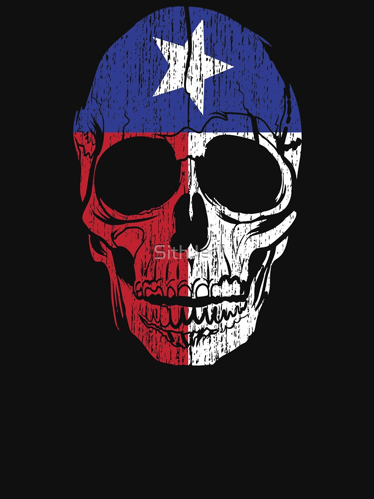 Red White and Blue Texas Flag Skull Lone Star State  by SithJedi