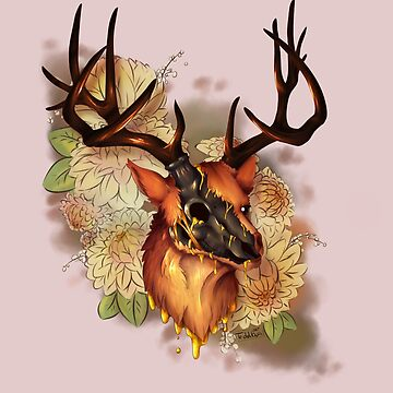 Elk Head Dripping Gold by TeddiBura
