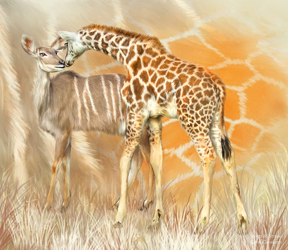 Spots and Stripes - Giraffe - Antelope by Carol  Cavalaris