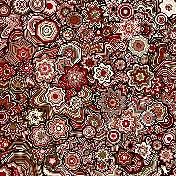 Generative Art Particle Flowers, Victorian Red by KristinHenry