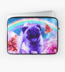 Rainbow Unicorn Pug In The Clouds In Space Laptop Sleeve