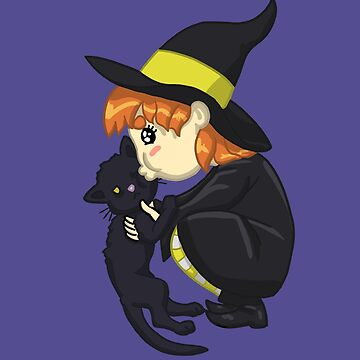 Little Witch Girl & Her Kitty Familiar by Travosaurus-Rix