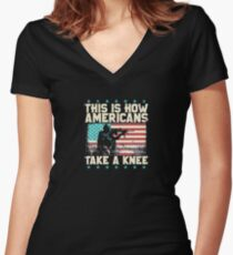 we stand for flag Women's Fitted V-Neck T-Shirt