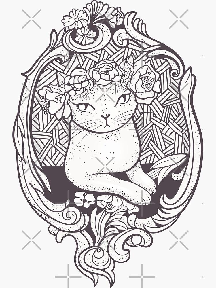 Art Deco Katze mit Blumen von runcatrun
