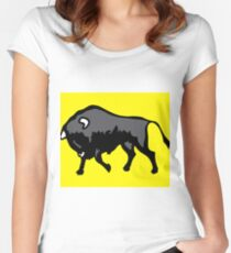 Bison with yellow background Women's Fitted Scoop T-Shirt