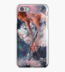 Ballet Dancer in White Dress Tying Shoe Ribbons iPhone Case/Skin