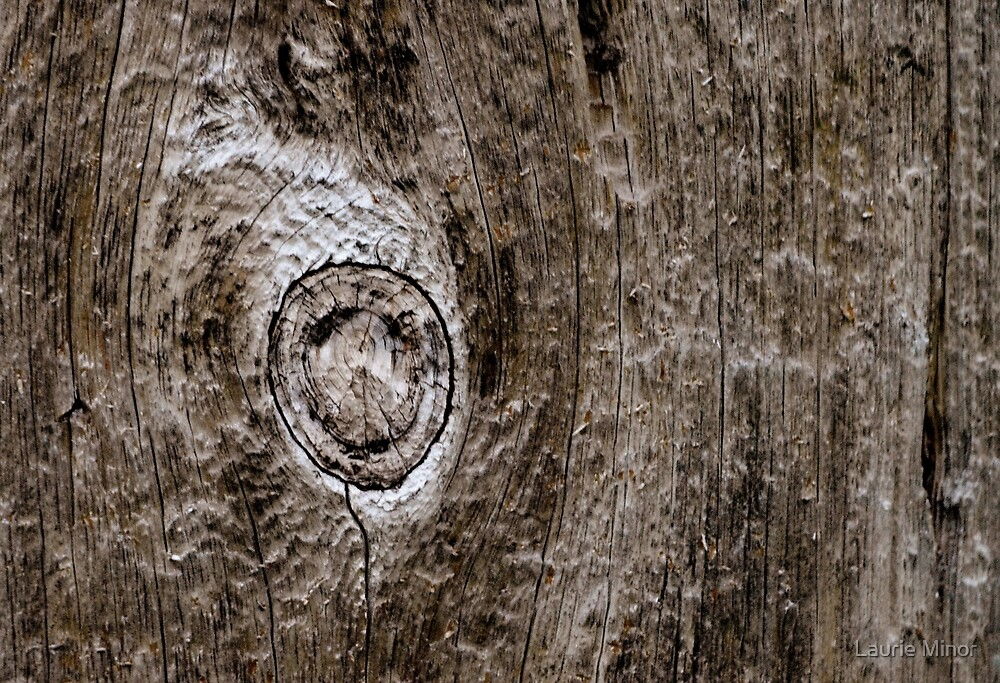 Smiley face balloon in wood grain by Laurie Minor