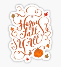 Happy Fall Y'All Pumpkin Vines Hand Lettering Design Sticker