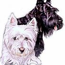 Scotty and Westie by BarbBarcikKeith