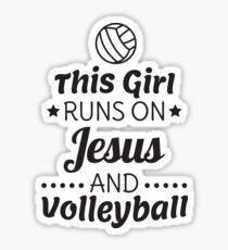 Volleyball Shirt, Girls Volleyball Gift, Runs on Jesus Sticker