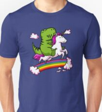 T-Rex Dinosaur Riding Unicorn Colorful Rainbow T-Shirt