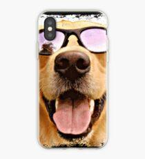 Vinilo o funda para iPhone Golden retriever con gafas