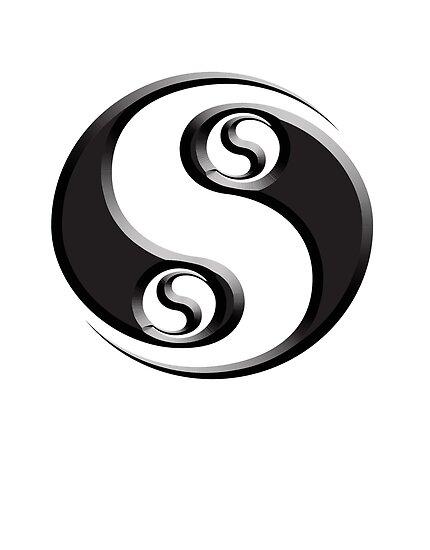Yin Yang Twist Chinese Martial Arts Symbol Black On White