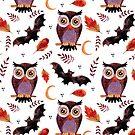 Eulen-u. Schläger-Halloween-Muster von BekkaCampbell
