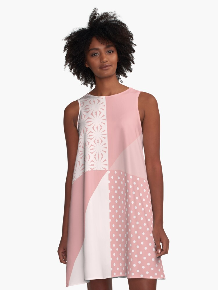 AFE Coral & Pink Abstract A-Line Dress Front