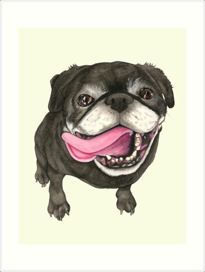 «Pug negro» de PaperTigressArt
