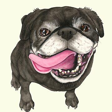 Pug negro de PaperTigressArt