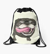 Black Pug Drawstring Bag
