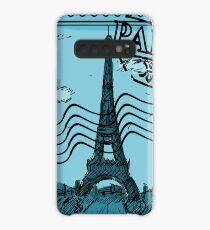 Paris Stamp - Blue Case/Skin for Samsung Galaxy