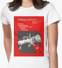 East German Soviet Rocket and Technic Exhibition 1970s, Berlin Propaganda Poster Women's Fitted T-Shirt
