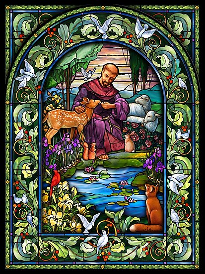 St. Francis Stained Glass by Halcyon-Studio