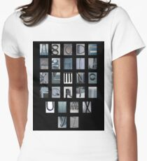 alphabet print in blue Women's Fitted T-Shirt