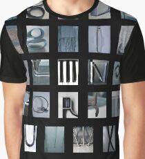 alphabet print in blue Graphic T-Shirt