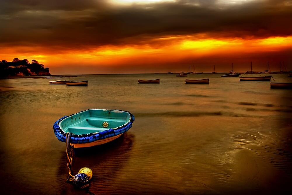 Blue boat, orange sky. by Melinda Kerr