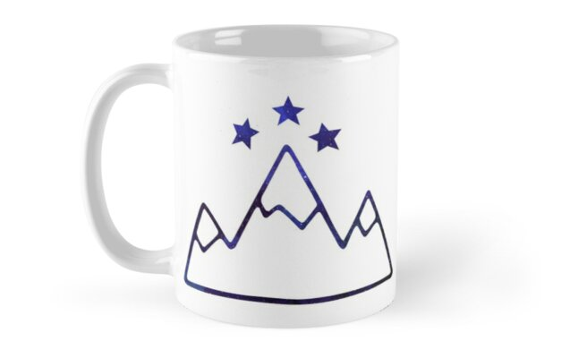 Night Court Symbol Mountains And Stars Mugs By Angelina Werner