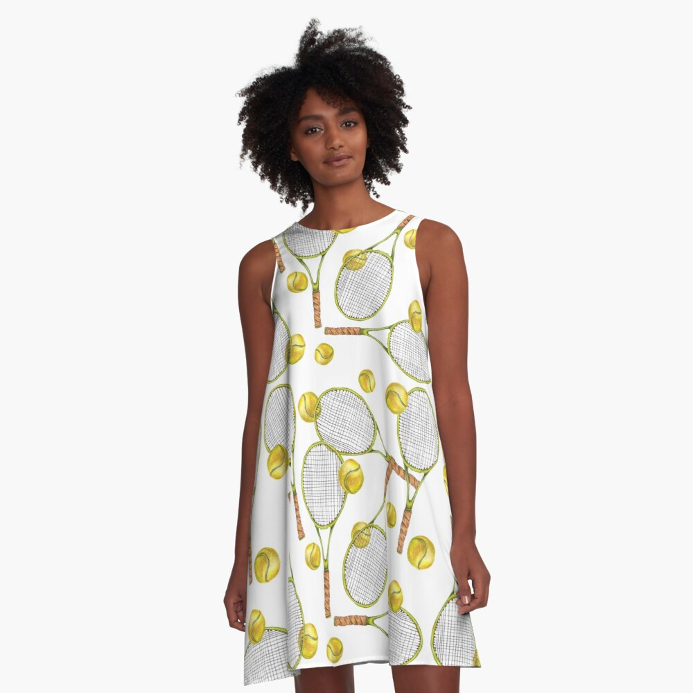 pattern with tennis rackets with tennis balls. color pencil A-Line Dress Front