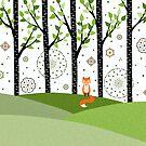 Fox - Birch Trees - Green by Cristina Bianco Design