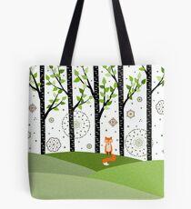 Fox - Birch Trees - Green Tote Bag