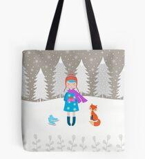 Girl - Fox - Winter Tote Bag
