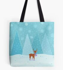 Winter - Deer - Illustration Tote Bag