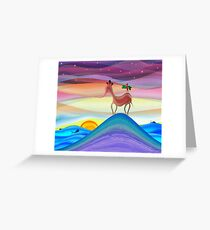 Purple fantasy horse sunset Greeting Card
