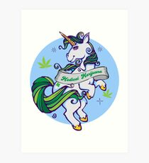 Medical Marijuana Unicorn Art Print
